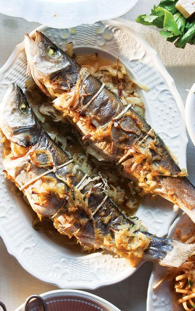 Whole Roasted Branzino with Fennel and Onions by saveur #Fish