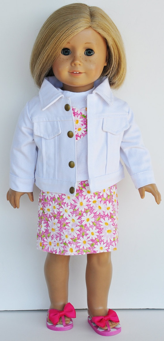 American Girl Clothes - Pink & White Floral Skort and Tee with White Jacket. $26.00, via Etsy.