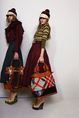 burberry - burgundy full skirt and amazing bags!