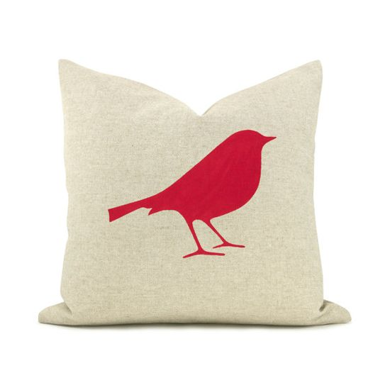 """""""I'm crazy about this red bird pillow cover."""" - Laura #LauraTrevey #BrightBoldBeautiful"""