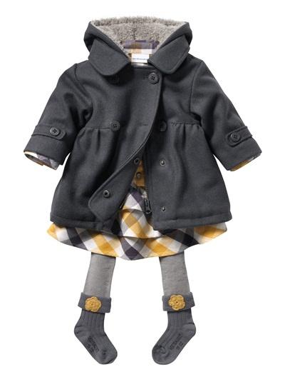 Baby Girl Coat YELLOW MEDIUM SOLID+GREY MEDIUM SOLID
