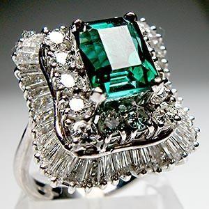 Green Tourmaline and Diamond Ballerina Ring