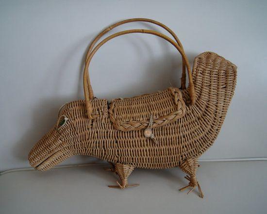 Vintage 1950s Wicker Crocodile Purse