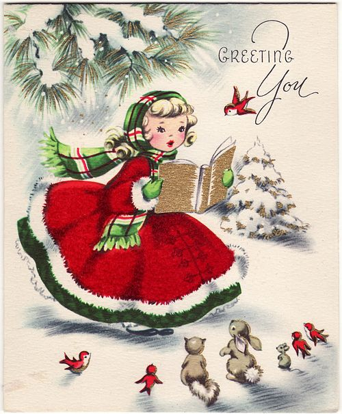 Charmingly sweet vintage Christmas greetings to you. #vintage #Christmas #cards