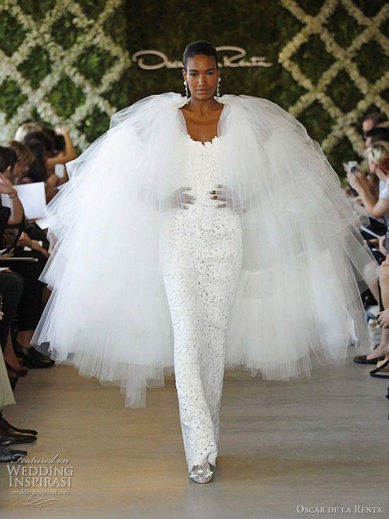Wedding dresses with dramatic edge from Oscar de la Renta Spring 2013 bridal collection