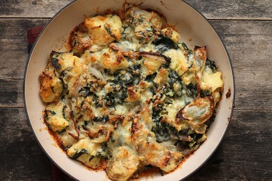 Roasted Shallots, Spinach & Potato Gratin