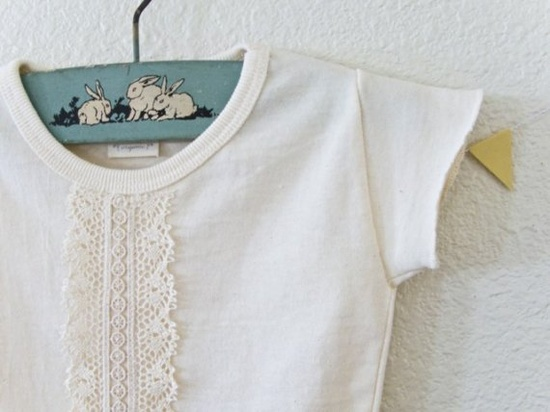 Sew lace on a tee for a vintage look