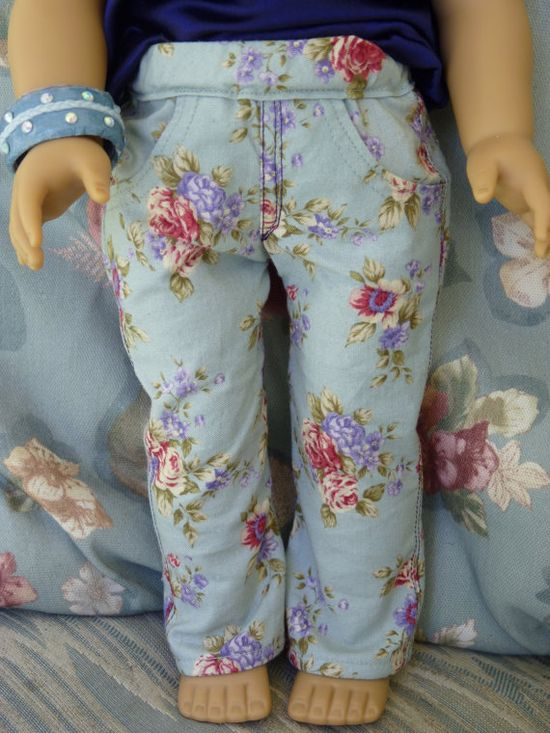 Floral jeans for 18 inch American Girl Dolls