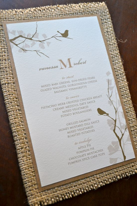Rustic wedding menu with burlap and recycled paper. $10.00, via Etsy.
