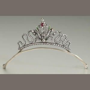 A diamond, ruby, emerald convertible tiara
