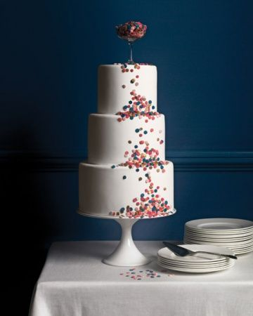 love how simple, but celebratory this cake is! i'd do the confetti to match the party color scheme...