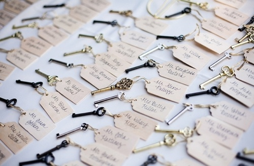 Vintage key escort cards are a charming idea for a vintage wedding theme