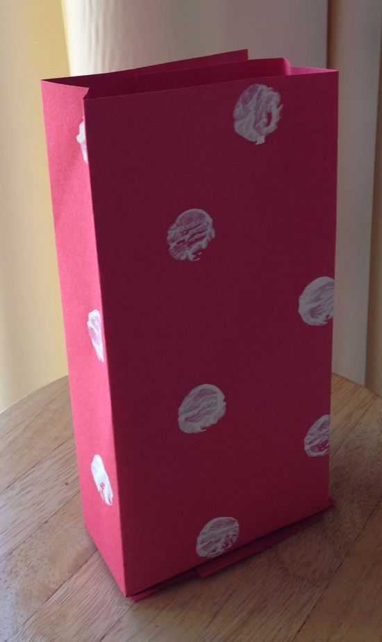 handmade gift bag made of construction paper and tempera paint