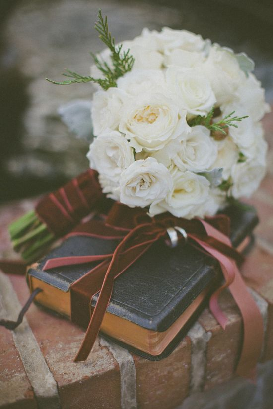 tie your rings to a family Bible instead of a ring pillow for your ring bearer to carry! MUST DO