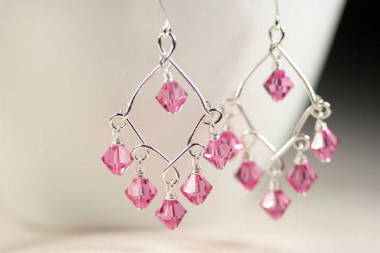 Pink Swarovski Chandelier Earrings Wire by JessicaLuuJewelry, $35.00