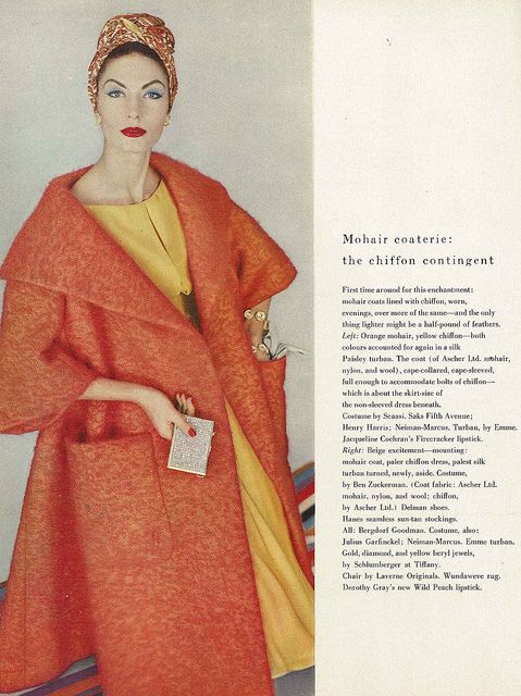 Gorgeous, cheerful citrus hues from March 1958. #coat #ad #vintage #fashion #1950s