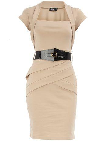 Bolero Dress in Stone with Belt