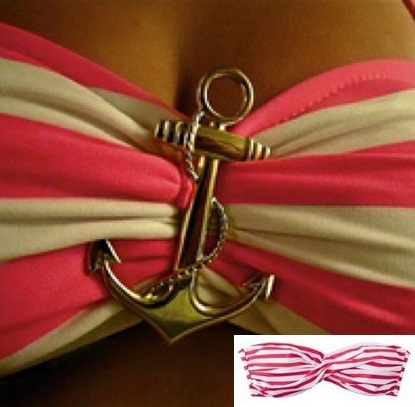 so cute.. get a anchor pin or any pin and attach to middle of bandeau bikini top! VOILA, a whole new look :) i'll be doing this, this summer!