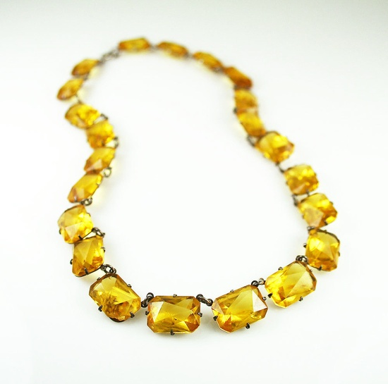 Art Deco Necklace Citrine Glass Bib Antique Jewelry. $125.00, via Etsy.