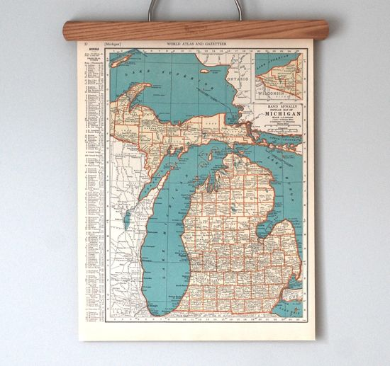 Vintage Michigan map. (Great lakes, great times.)