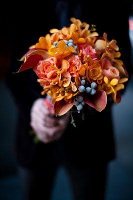 Pretty orange wedding bouquet