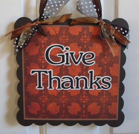 Thanksgiving Decoration GIVE THANKS Door by craftysweethearts, $14.99