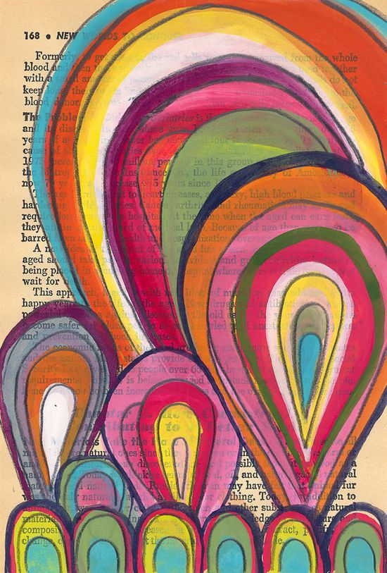 Parachutes - Original Painting on Antique Book Paper by kipi