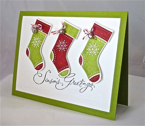 Christmas card stocking stamped blank red by QuirkynBerkeleyCards, $6.50