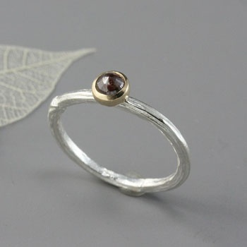 Artist: Sarah Hood   Twig ring in sterling silver, 14k yellow gold, and 0.57 carat rose cut diamond
