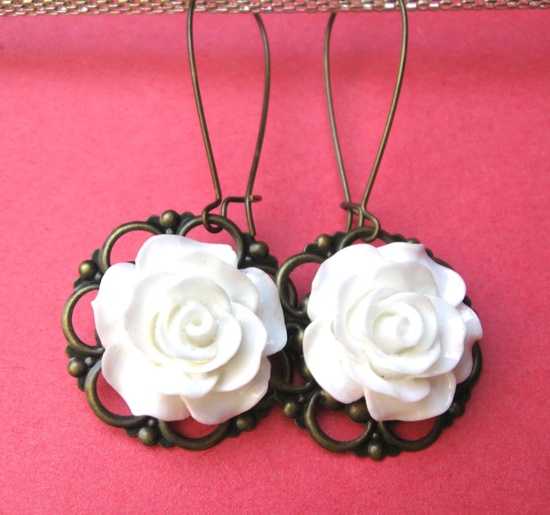 WHITE ROSE earrings on French wires.  These are beautiful. $7.00.  www.etsy.com/...