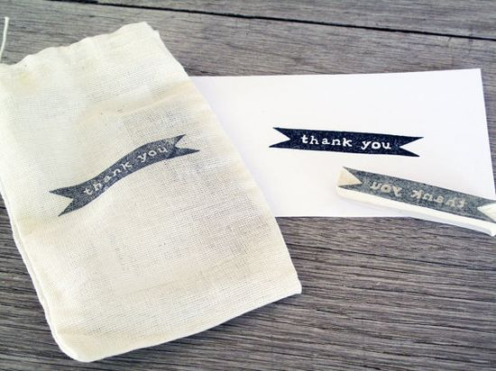 Thank You Rubber Stamp, Hand Carved. 10.00, via Etsy.