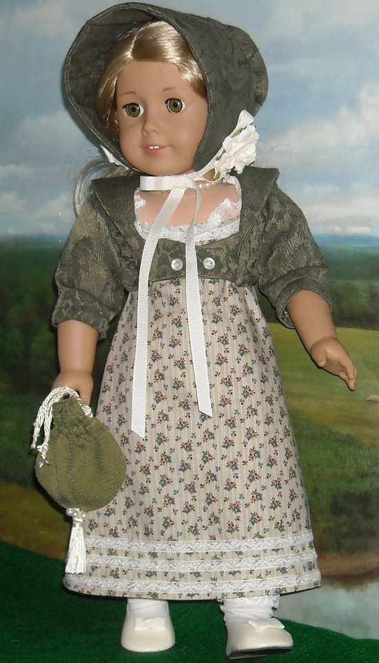 1812 Regency Day Dress with Spencer Jacket and Hat  for 18 inch Dolls.