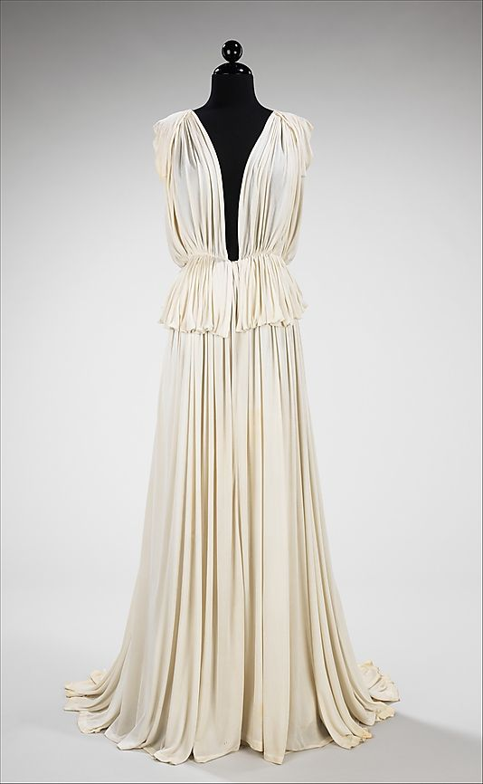 Madame Grès (Alix Barton) (French, 1903–1993). Evening dress, 1937. The Metropolitan Museum of Art, New York. Brooklyn Museum Costume Collection at The Metropolitan Museum of Art, Gift of the Brooklyn Museum, 2009; Gift of Bettina Ballard, 1952 (2009.300.1174)