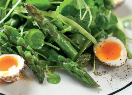 Steamed Asparagus and Bean Salad Recipe : Cook Vegetarian Magazine