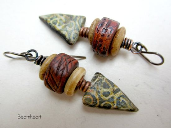 Playing with Claire. dangle beaded earrings boho by beatnheart, $38.00