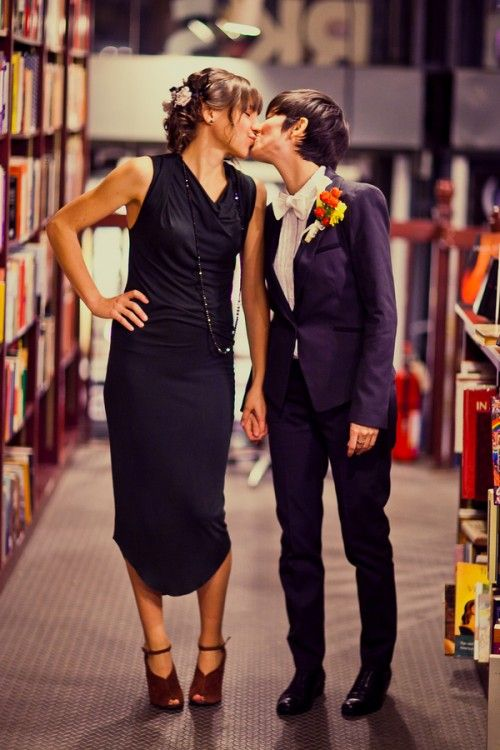 A book store same sex wedding with Dirty Dancing twist