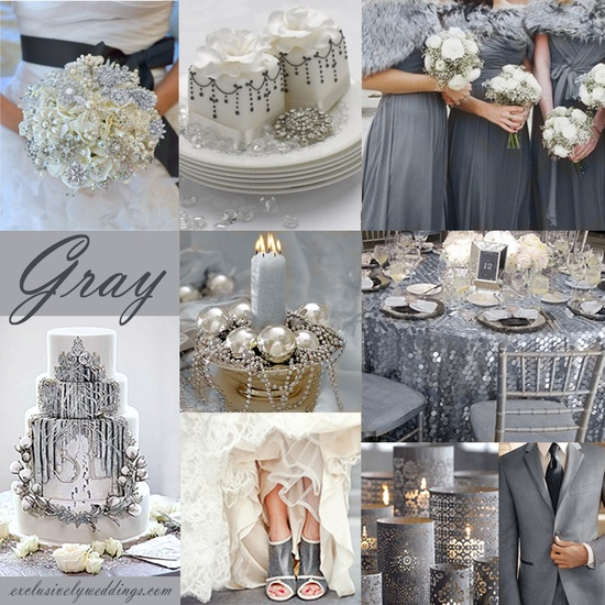 Gray Wedding Color - Gray is a sophisticated choice by itself or paired with white and/or silver. It also pairs very well with yellow, pink, purple and more!