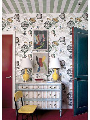 Amazingness. #Schumacher Balloon's wallcovering; Child's Bedroom by Miles Redd