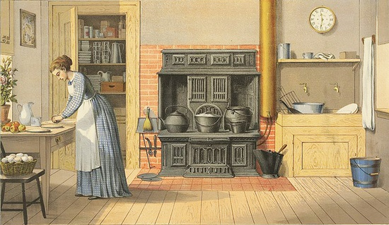 A lovely, wonderfully detailed illustration of a spacious Victorian kitchen. #Victorian #woman #kitchen #home #decor #illustration #1800s #19th_century