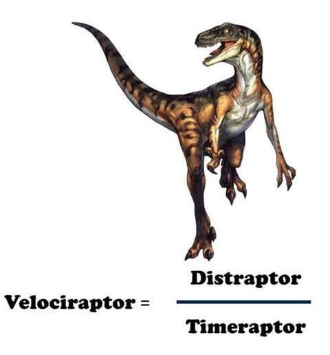 Raptor Physics (velociraptor, funny diagram, chart, math, dinosaurs)