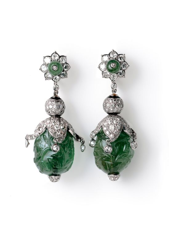 Cartier carved emerald and diamond earrings