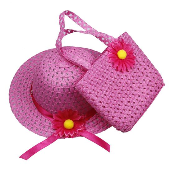 $1.97 Rose Lovely Kids Girls Children Straw Sun Hat Cap And Cute Straw Handbag Set