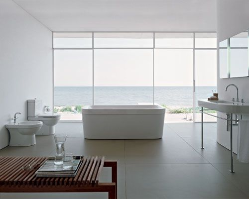 A modern & clean white bathroom from Duravit's Happy D Collection.