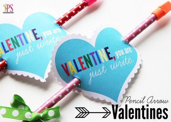 Pencil Arrow Valentines with Free Printable www.PositivelySpl...