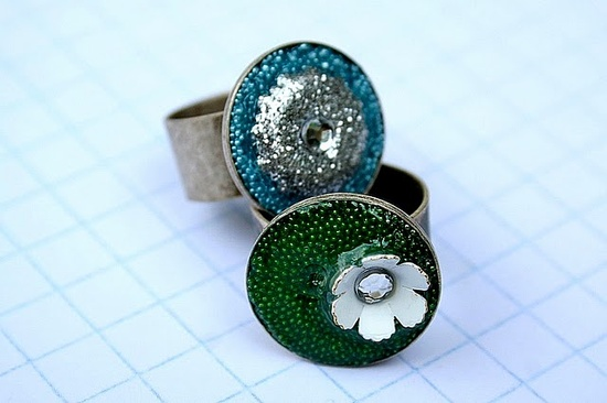 easy diy rings- ring bases + mod podge and any beads you have