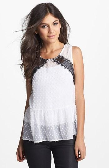 Unique polka dot peplum tank with leather lace detail