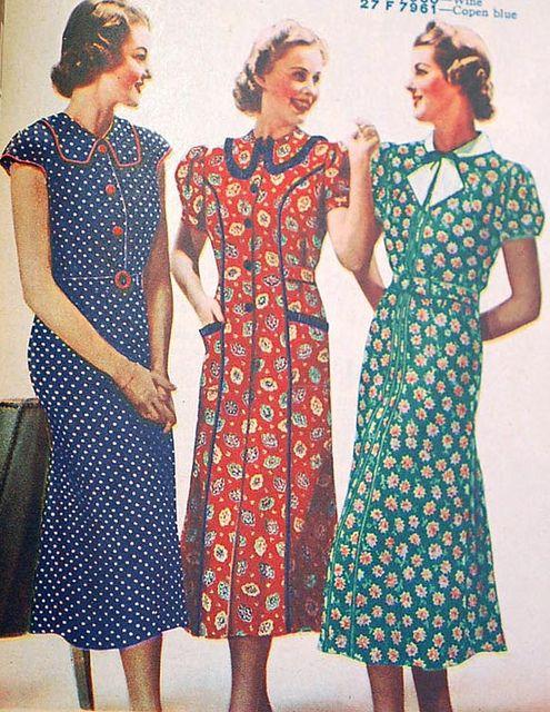 1930s #1930s #dresses #prints #collars #vintage