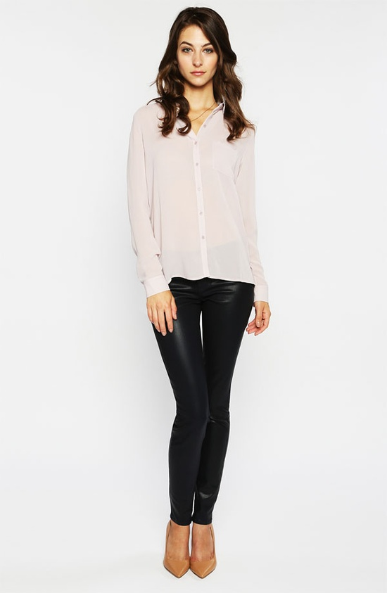 Trouvé Pocket Shirt & Paige Coated Stretch Denim Jeans #Nordstrom #Work