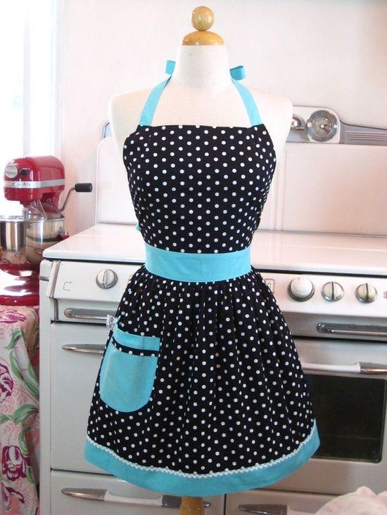 black, white and aqua apron - love this!