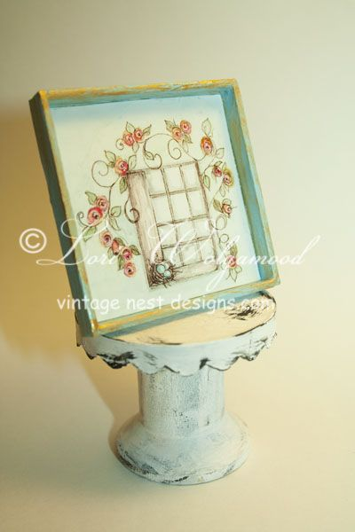 Roses Bird Nest Window No.1 Blue Miniature Doll House Shabby - Vintage Nest Designs, Creative Handmade and Hand Painted Designs